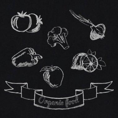 Chalk fruit and vegetables icon