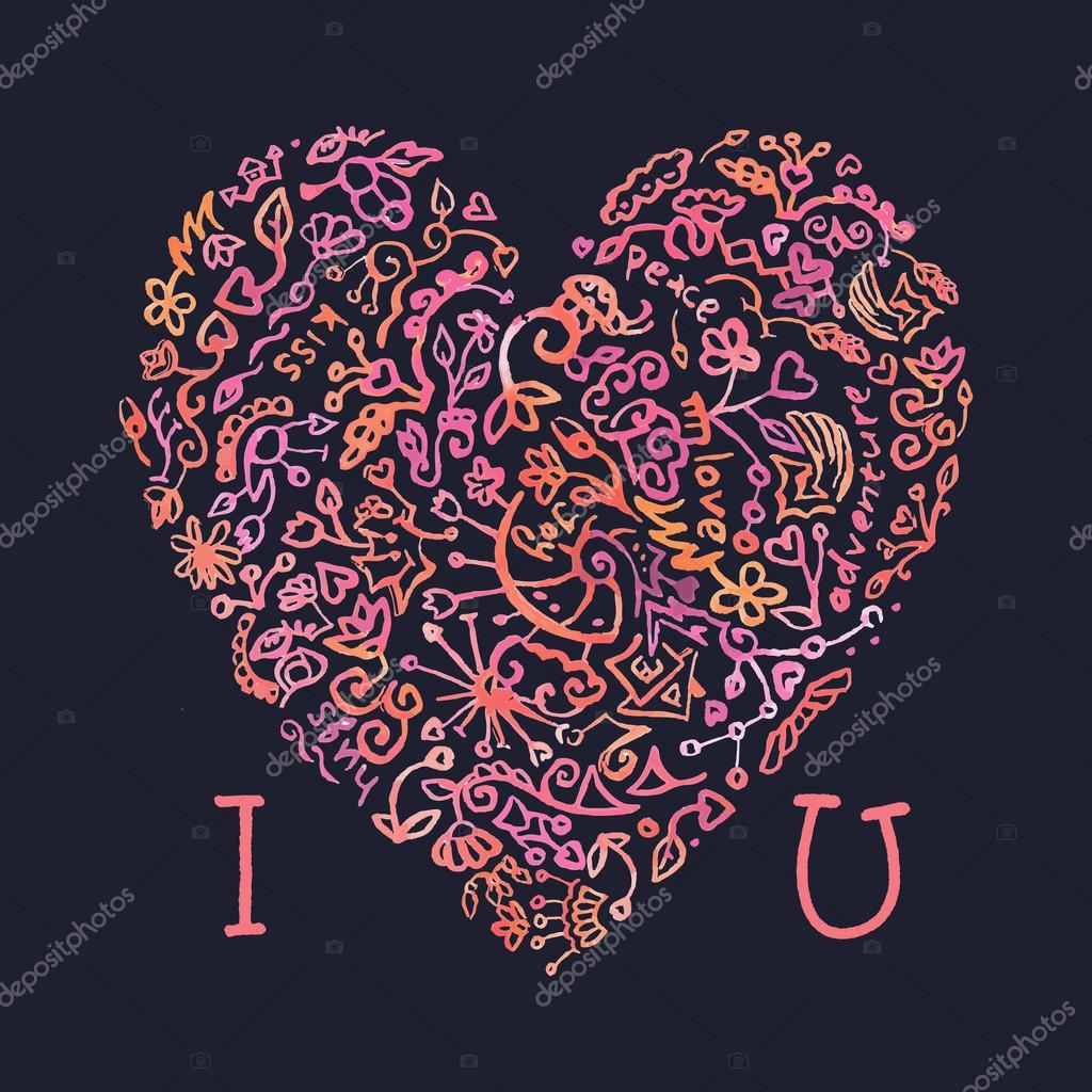 Ich liebe dich Vorlage mit kreativen Doodle Aquarell Herzen ...
