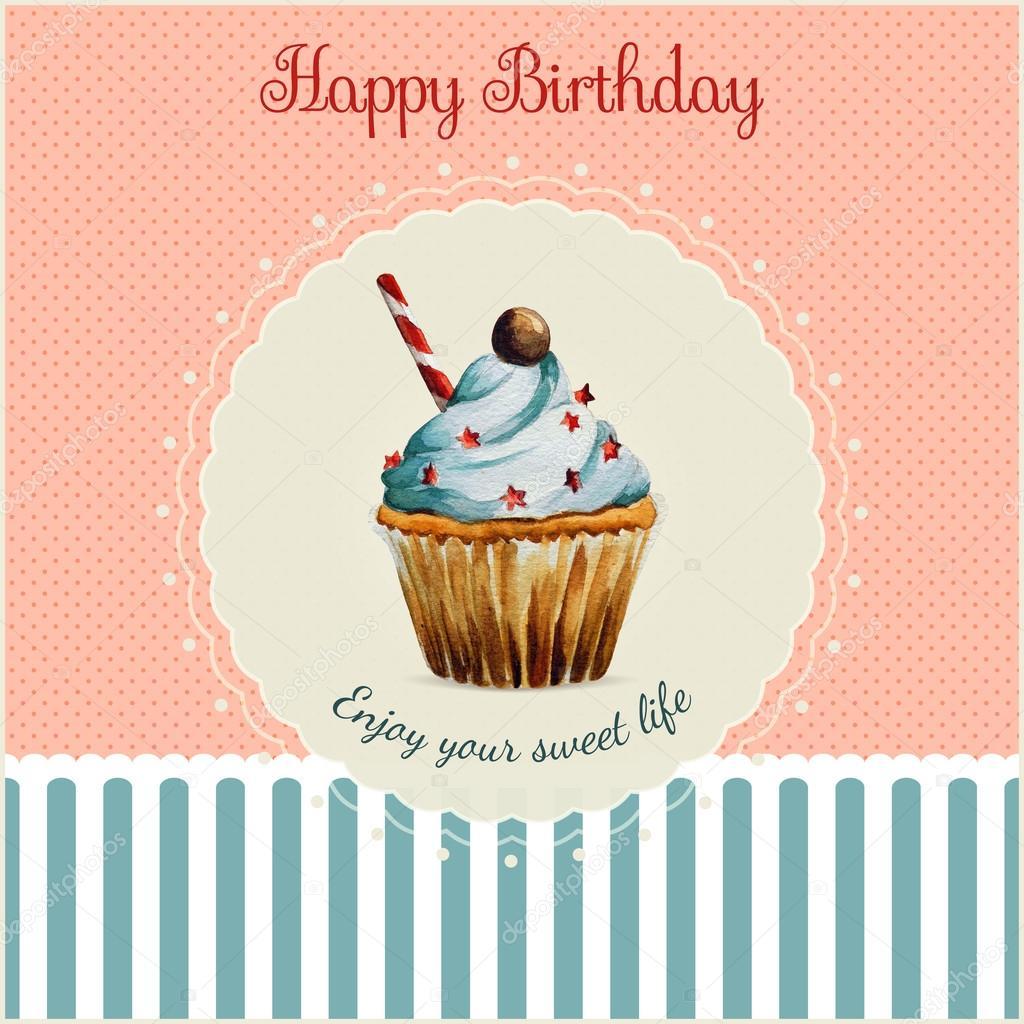 Plantilla de tarjeta de felicitación de cumpleaños con ilustraciones ...
