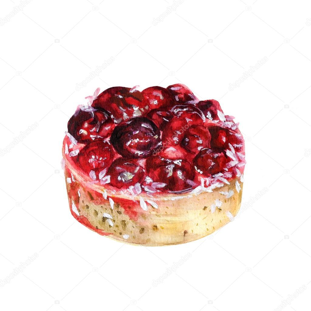 Watercolor cherry cake