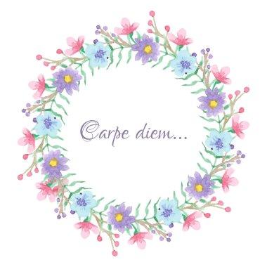 Floral temlate with carpe diem script