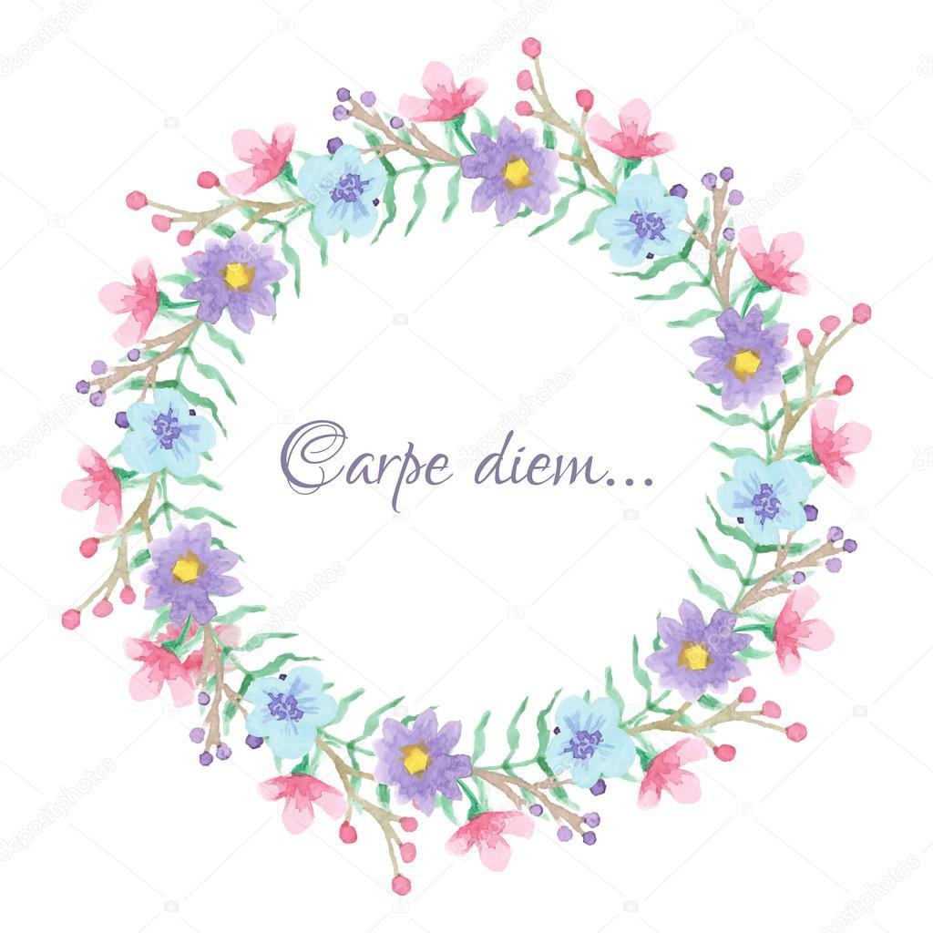 Floral Temlate Met Carpe Diem Script Stockvector Awispa 78176916