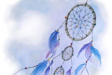 Watercolor dream catcher illustration