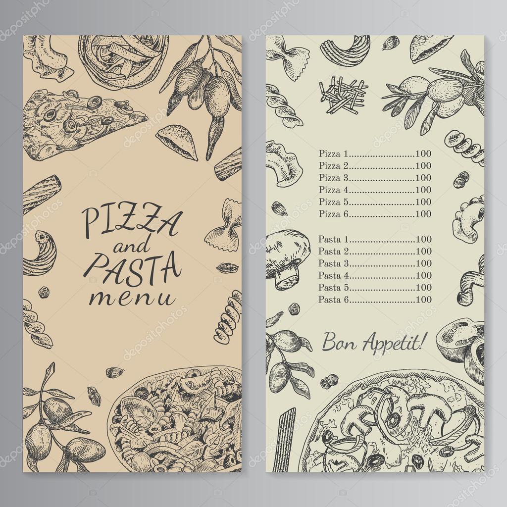 Tinta de la mano dibujada plantilla de menú de pizza y pasta ...