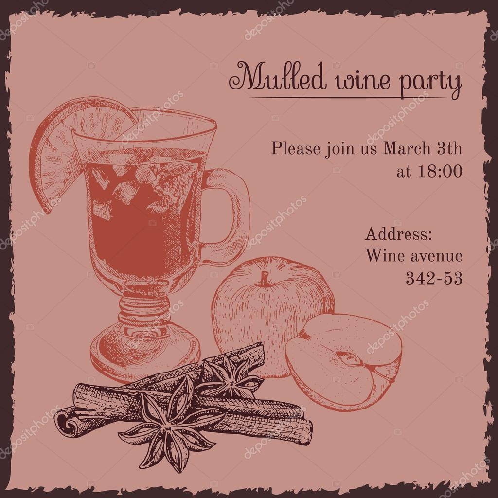 Invitation template for mulled wine party — Stock Vector © awispa ...