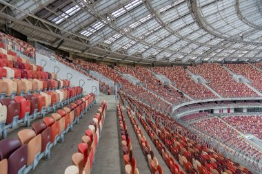 Moscow, Russia - March 14, 2021: Inside the Luzhniki soccer stadium. Rows of empty seats on the tribune