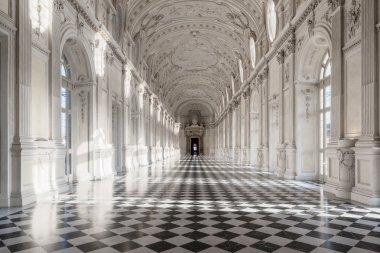 Interior gallery of royal palace of Venaria Reale in Piedmont, U