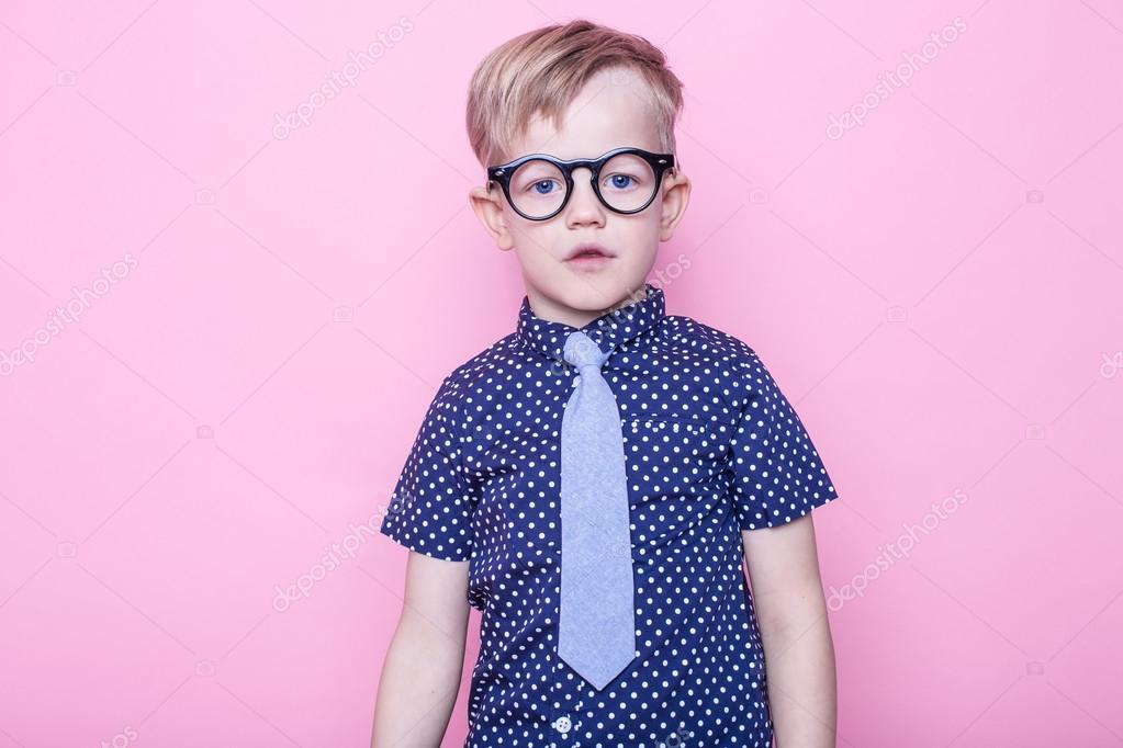420877d515c1 Stylish boy in shirt and glasses with big smile. School. Preschool. Fashion.