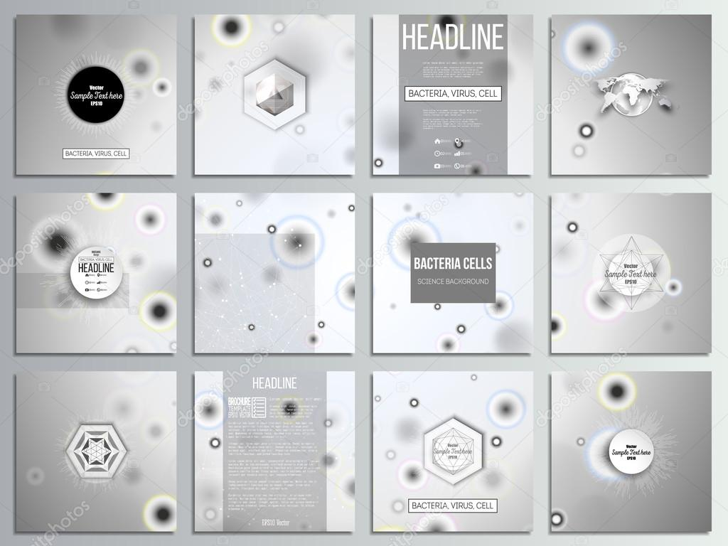 Conjunto de 12 cartas creativas, diseño plantilla cuadrados ...