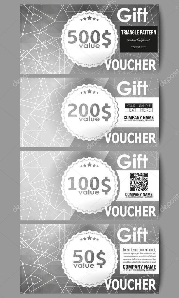 Set Of Modern Gift Voucher Templates Sacred Geometry Triangle Design Gray Background Abstract