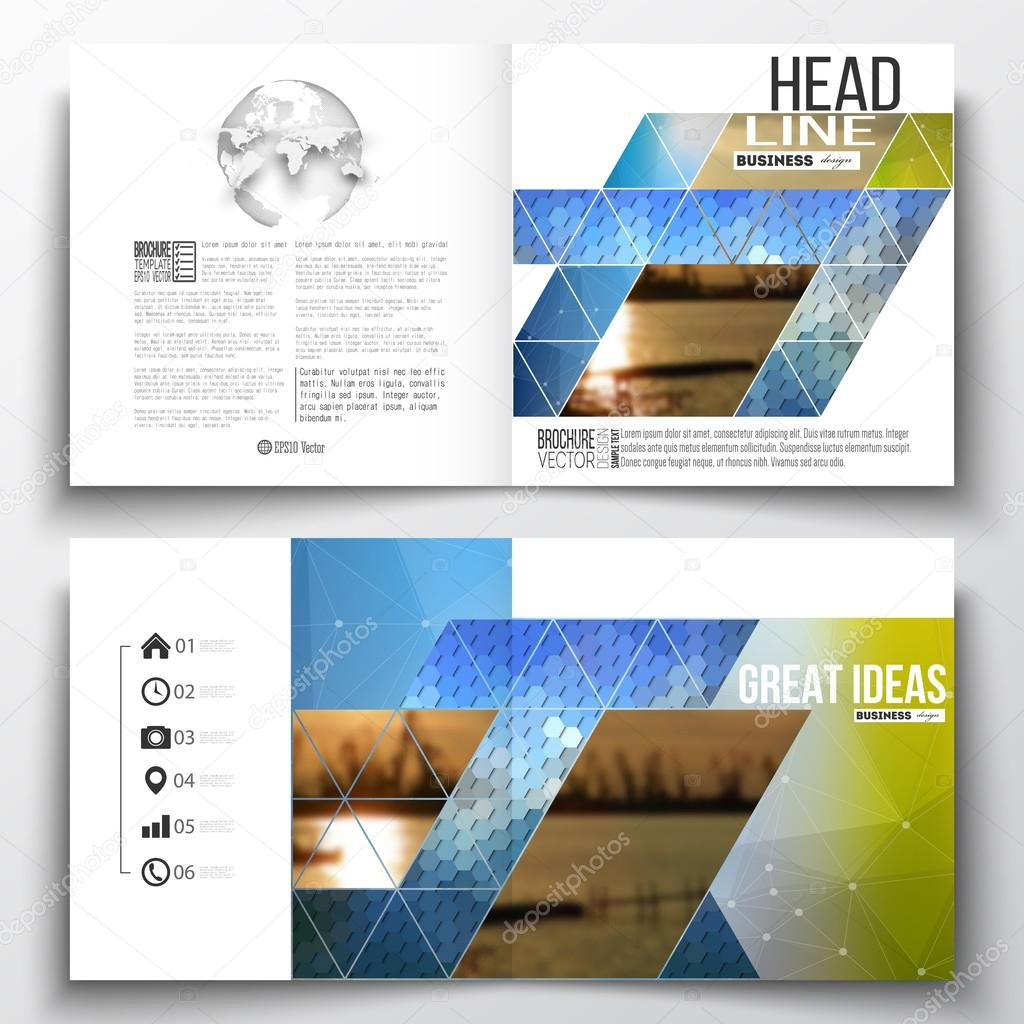 vector set of square design brochure template abstract colorful