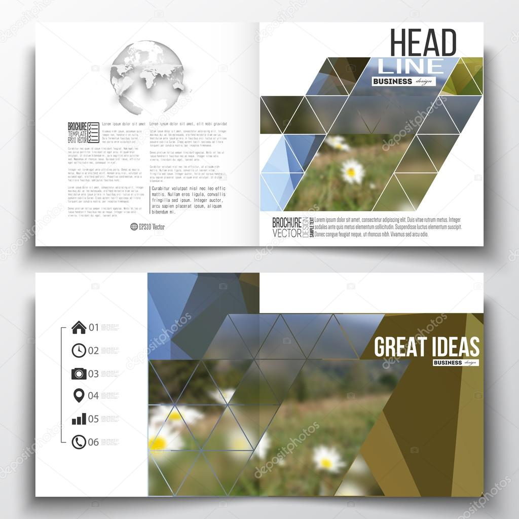Set of annual report business templates for brochure, magazine, flyer or booklet. Abstract colorful polygonal backdrop, blurred background, mountain landscape, modern stylish triangle vector texture