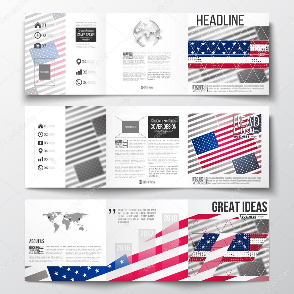 vector set of tri fold brochures square design templates with element of world map and globe memorial day background with abstract american flag