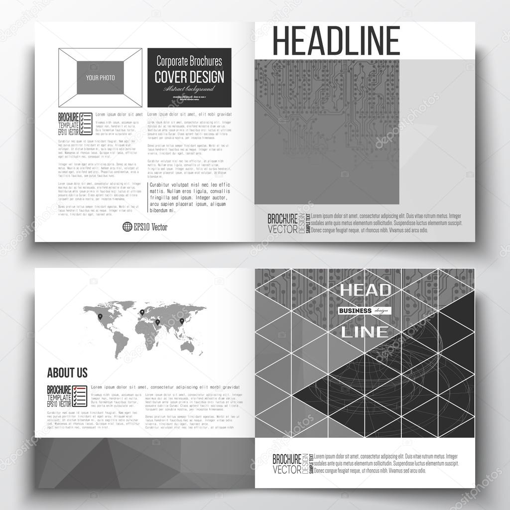 Set of annual report business templates for brochure, magazine ...