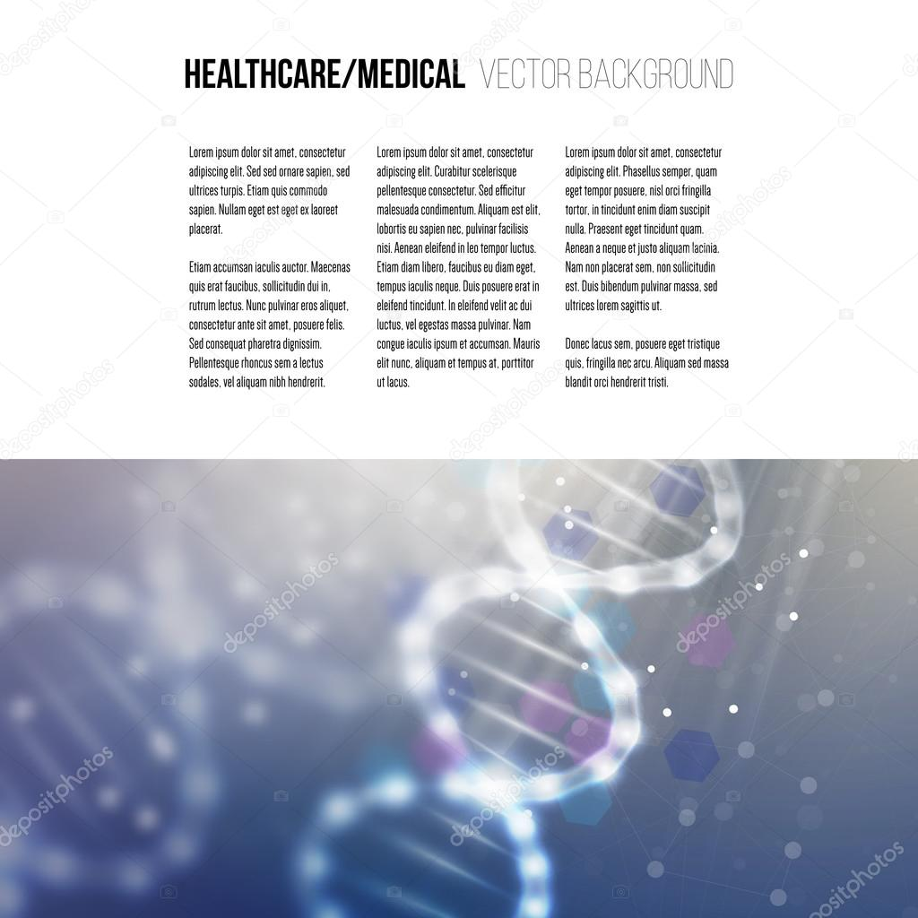 Business template for brochure, magazine, flyer, booklet or annual report. DNA molecule structure on a blue background. Science vector background