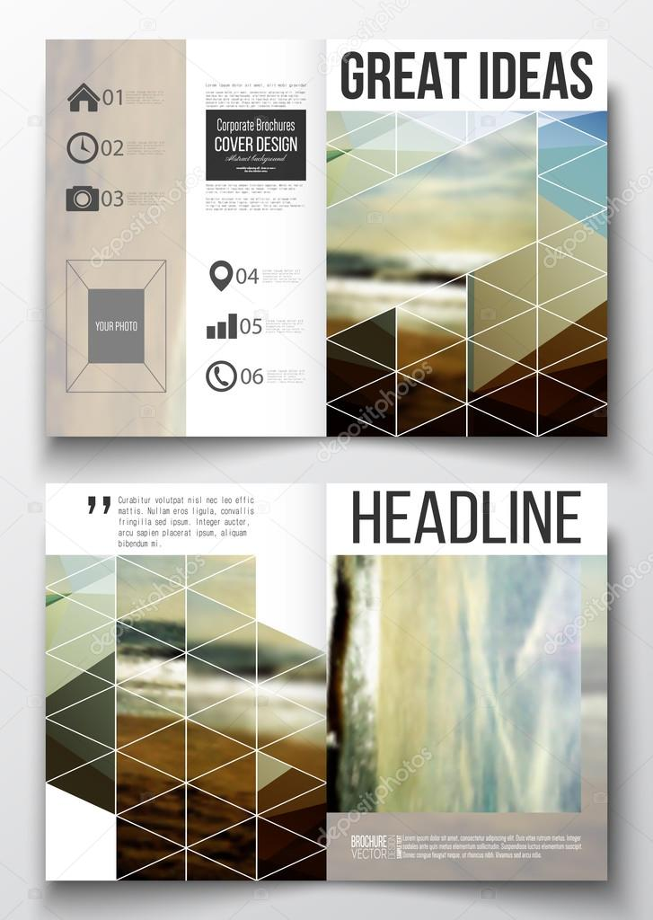 Set of business templates for brochure, magazine, flyer, booklet or annual report. Colorful polygonal backdrop, blurred background, sea landscape, modern stylish triangle vector texture