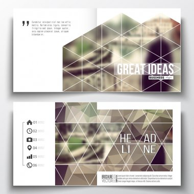 Set of annual report business templates for brochure, magazine, flyer or booklet. Polygonal background, blurred image, vacation, travel, tourism. Modern triangular vector texture