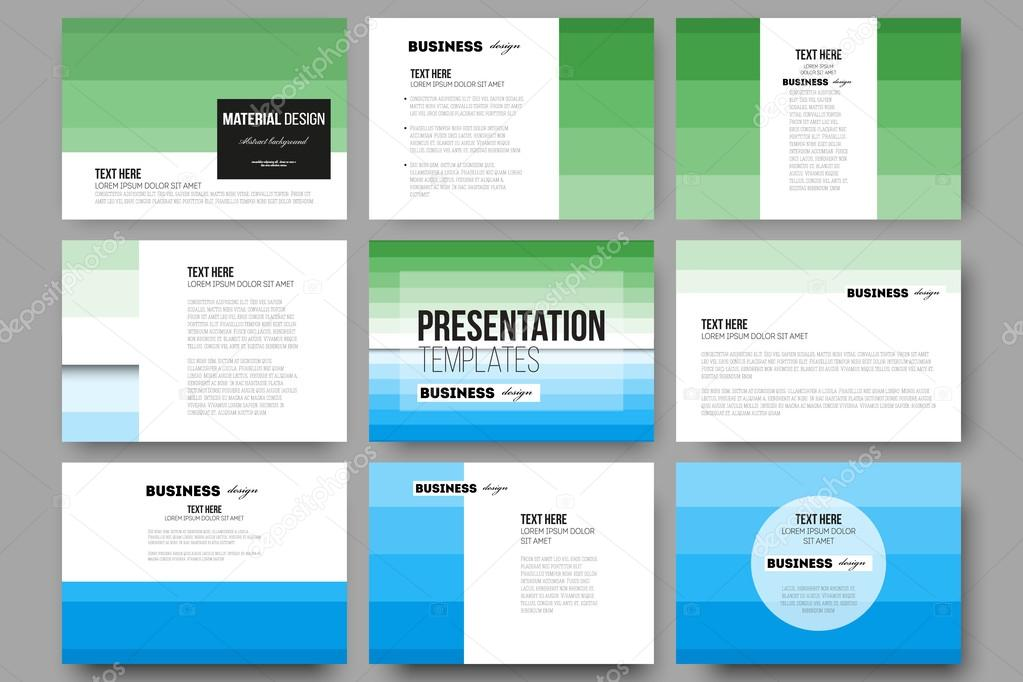 Set of 9 templates for presentation slides. Abstract colorful ...
