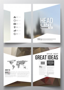 Set of business templates for brochure, magazine, flyer, booklet or annual report. Polygonal background, blurred image, urban landscape, Prague cityscape, modern triangular texture