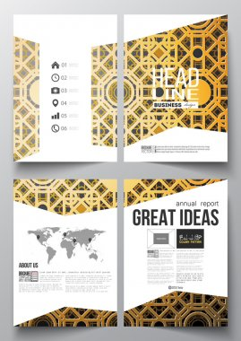 Set of business templates for brochure, magazine, flyer, booklet or annual report. Islamic golden vector texture, geometric pattern, abstract ornament. Beautiful background with arabic calligraphy