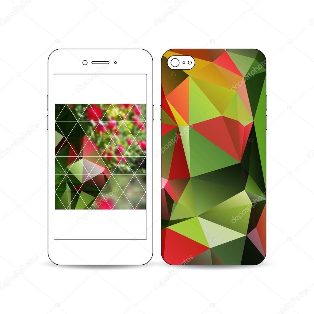 Mobile smartphone with an example of the screen and cover design isolated on white background. Colorful polygonal floral blurred image, red flowers, modern triangular texture