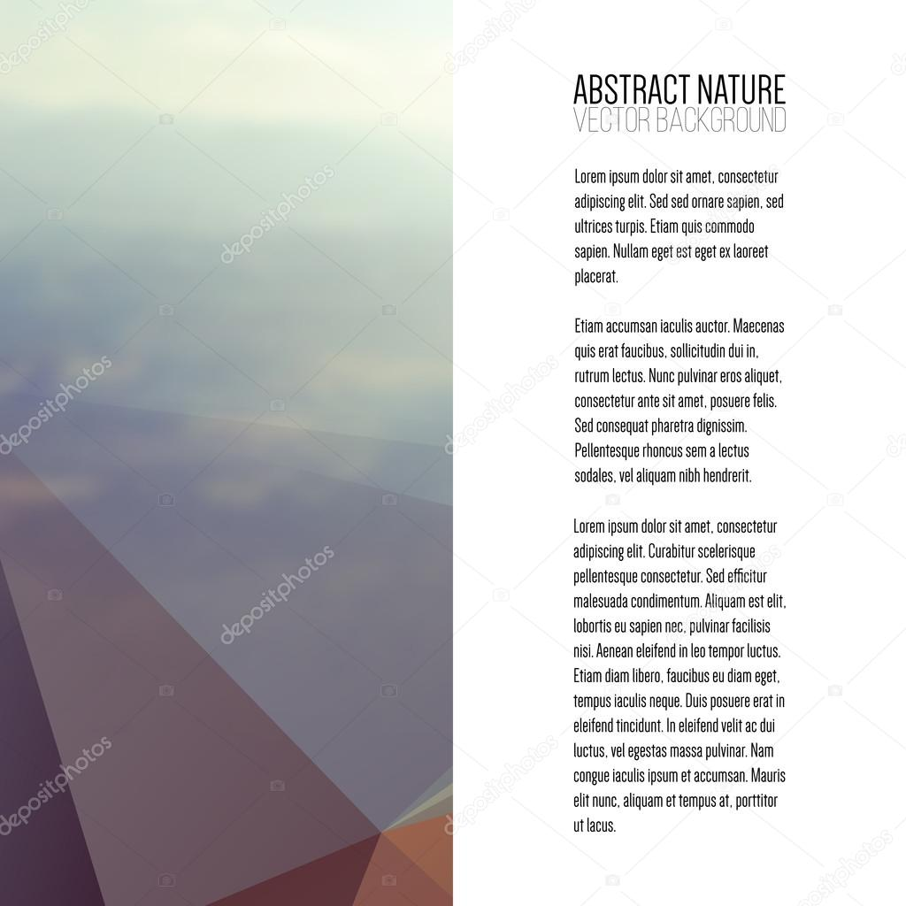 Business template for brochure, magazine, flyer, booklet or annual report. Abstract colorful polygonal backdrop, blurred background, mountain landscape, modern stylish triangle vector texture