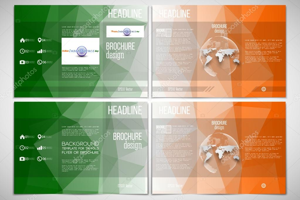 set of tri fold brochure design template on both sides with world