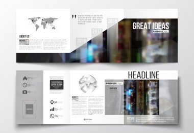 Set of tri-fold brochures, square design templates with world map and globe. Leaflet cover, abstract geometric background, business layout