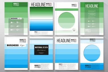 Set of templates for brochure, flyer or booklet. Abstract colorful business background, blue and green colors, modern stylish striped vector texture, simple cover design.
