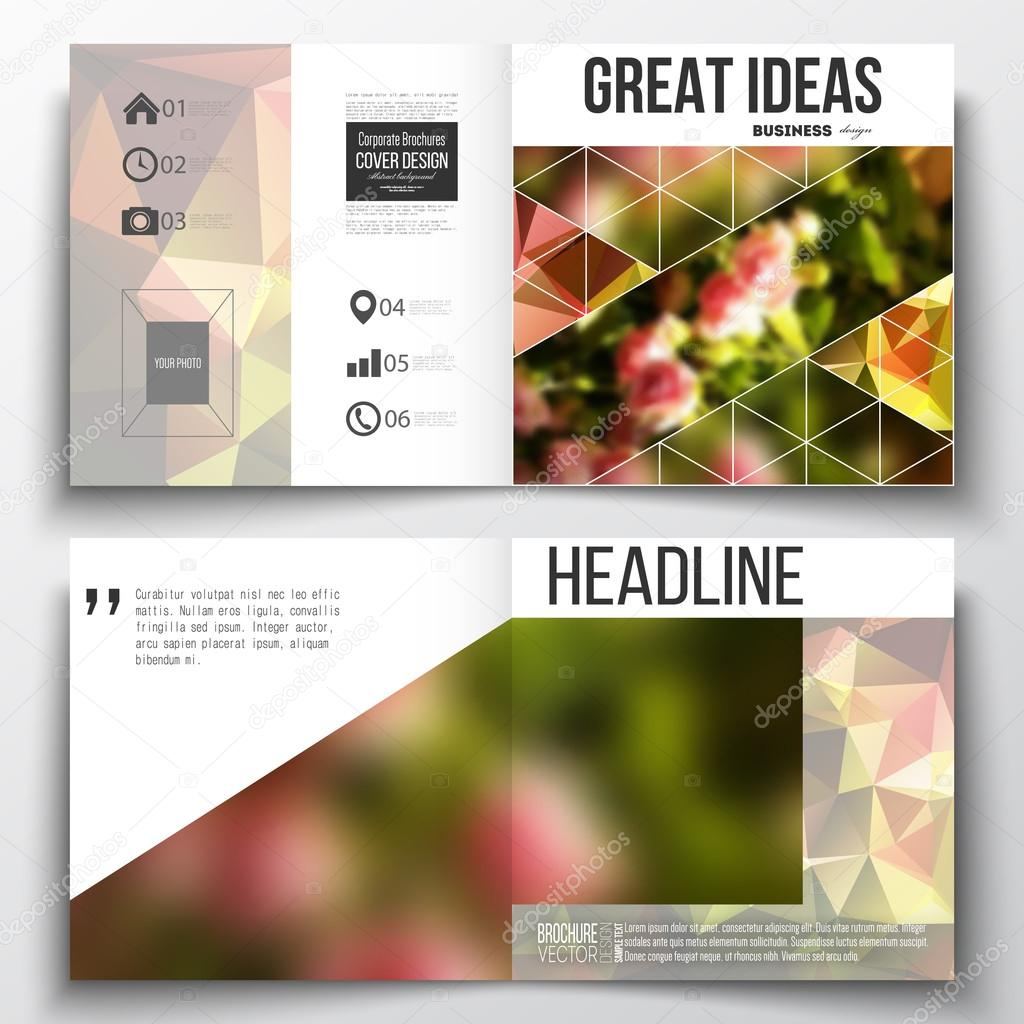Set of annual report business templates for brochure, magazine, flyer or booklet. Colorful polygonal floral background, blurred image, pink flowers on green, modern triangular texture