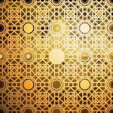 Islamic gold pattern with overlapping geometric square shapes forming abstract ornament. Vector stylish golden texture on black background