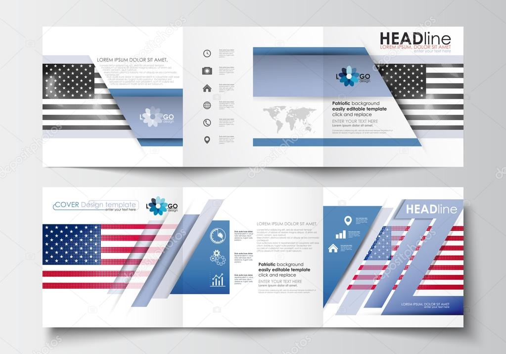 Set Of Business Templates For Tri Fold Brochures Square Design