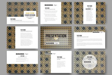 Set of 9 templates for presentation slides. Islamic gold pattern with overlapping geometric square shapes forming abstract ornament. Vector stylish golden texture on black background