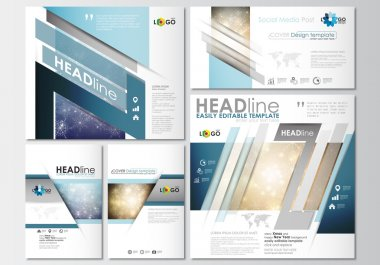 Social media posts set. Business templates. Cover design template, easy editable, flat layouts in popular formats. Christmas decoration, vector background with shiny snowflakes, stars