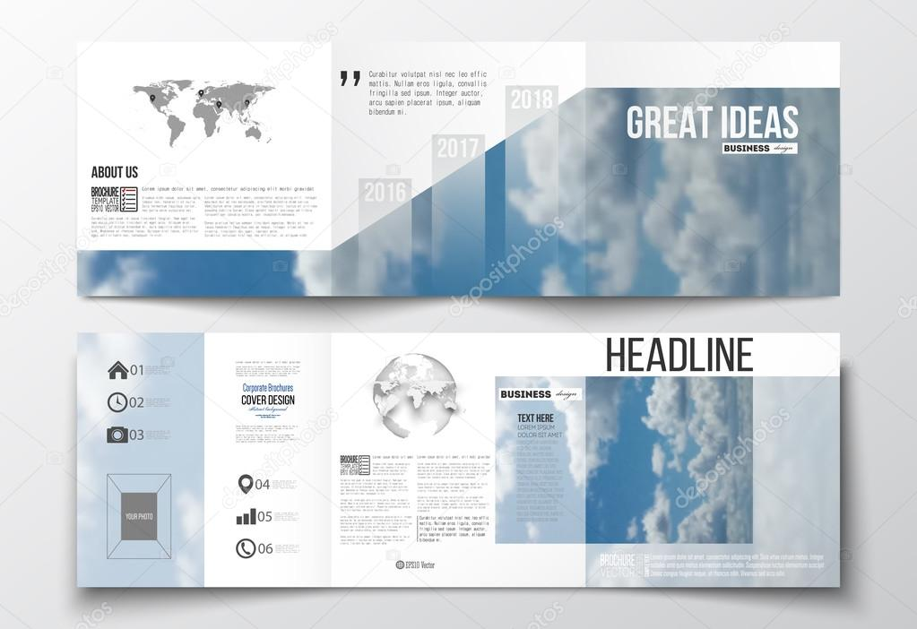 Set of tri-fold brochures, square design templates. Beautiful blue sky, abstract background with white clouds, leaflet cover, business layout, vector illustration.