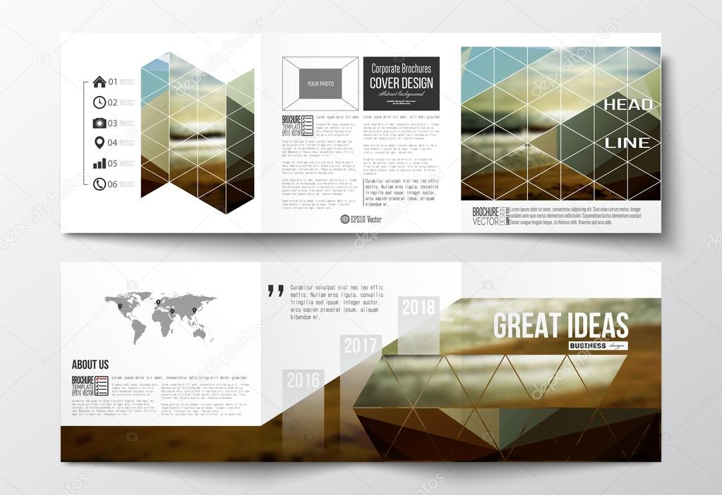 Set of tri-fold brochures, square design templates. Colorful polygonal backdrop, blurred background, sea landscape, modern stylish triangle vector texture