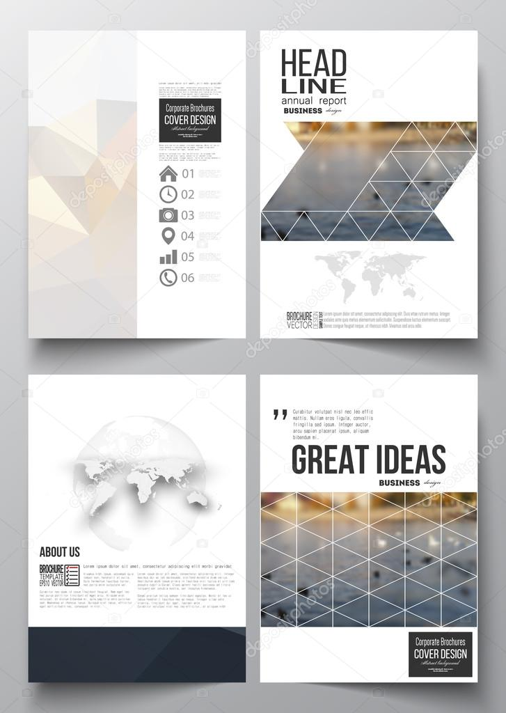 Set of business templates for brochure, magazine, flyer, booklet or annual report. Polygonal background, blurred image, urban landscape, cityscape, modern stylish triangular vector texture
