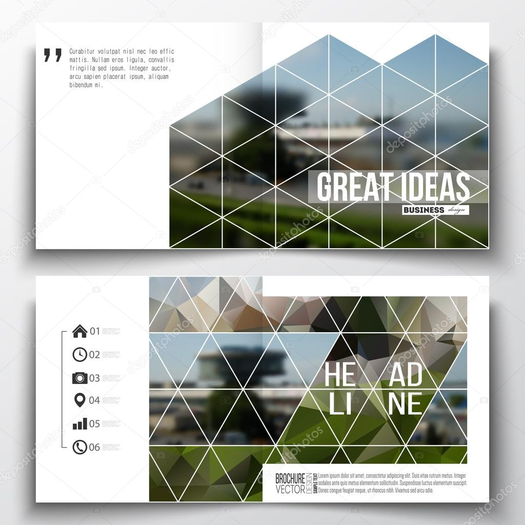 set of square design brochure template abstract colorful polygonal