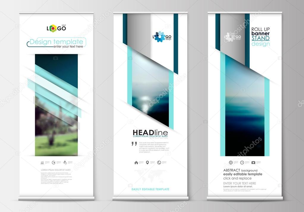 Roll up banner stands, flat design, abstract geometric templates ...