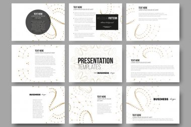 Set of 9 templates for presentation slides. Abstract polygonal low poly backdrop with connecting dots and lines, golden connection structure on white background. Digital or science vector