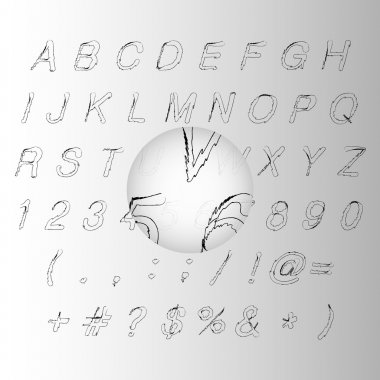 Calligraphic black handwritten alphabet vector illustration