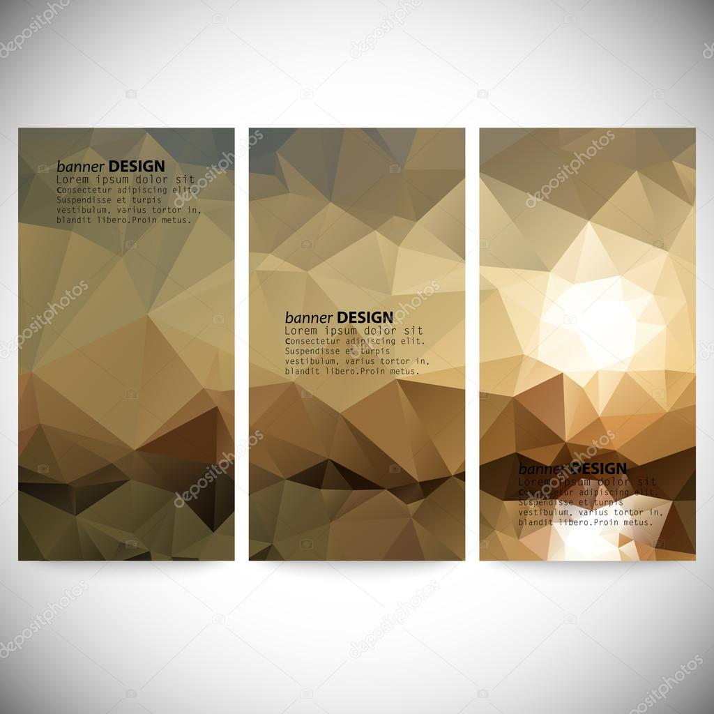 Set of vertical banners. Mountains and sea landscape, triangle design vector illustration