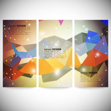 Set with polygonal abstract shapes, circles, lines and triangles. Triangle design vector illustration