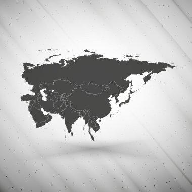 Eurasia map on gray background, grunge texture vector illustration