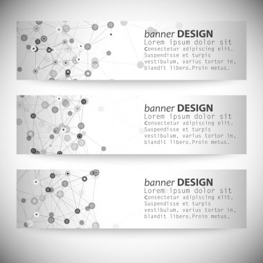 Set of horizontal banners. Molecule structure, gray background for communication, vector illustration