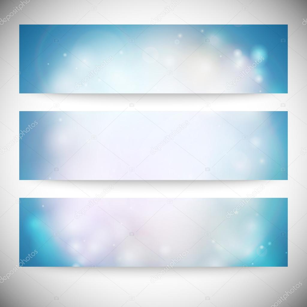 Set of horizontal banners. Abstract multicolored defocused lights background vector illustration