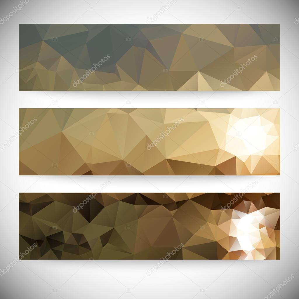 Set of horizontal banners. Mountains and sea landscape, triangle design vector illustration