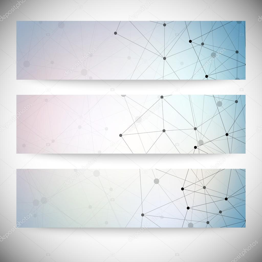 Set of horizontal banners. Abstract blue background vector illustration