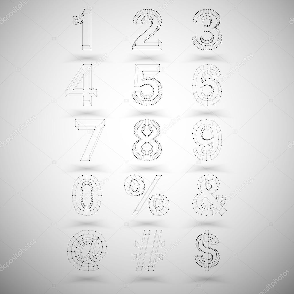 Three dimensional mesh stylish numbers and other symbols on white three dimensional mesh stylish numbers and other symbols on white background single color clear vector buycottarizona Gallery