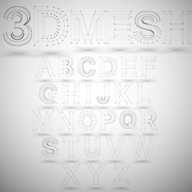 Three dimensional mesh stylish alphabet on white background, single color clear vector